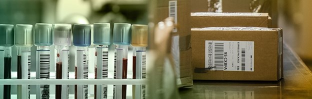 life sciences vials on left and parcels on the right