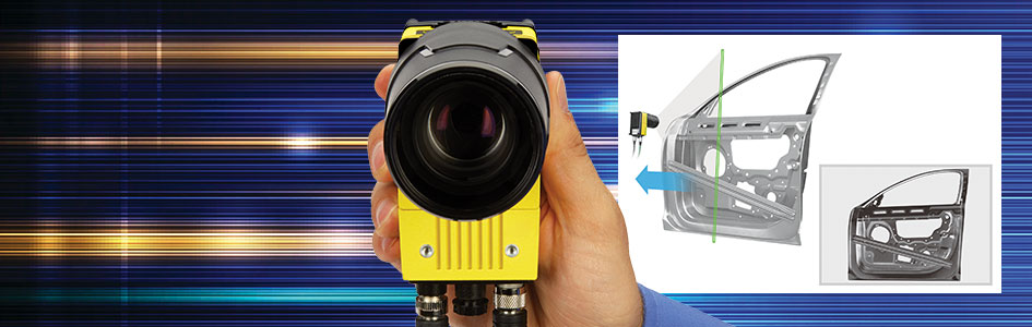 man holding in-sight 9902L line scan camera with car door application