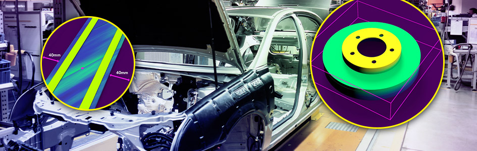 Body in white car with screenshots of 3D-L4000 inspection software
