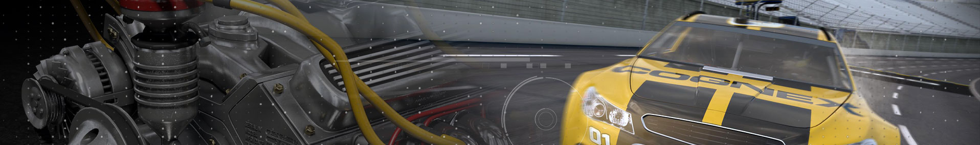 Automotive Cognex race car and engine banner