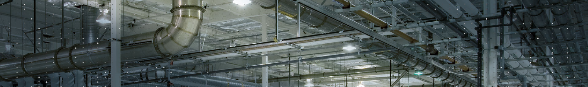 Industrial warehouse ceiling banner