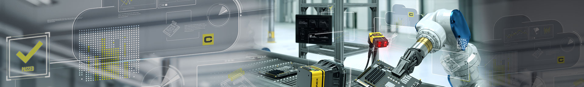Industrial robot arm and cognex products part inspection banner