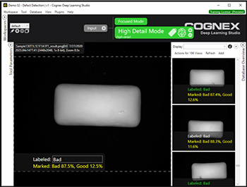 VisionPro Deep Learning locates defects and other unwanted cosmetic anomalies on pieces of chewing gum using the Green Classify High Definition Mode tool.