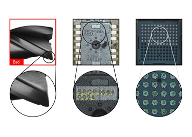 VisionPro ViDi examples of identified random defects on screw, OCR, and lights