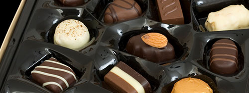 Packaged assorted chocolates food production packaging