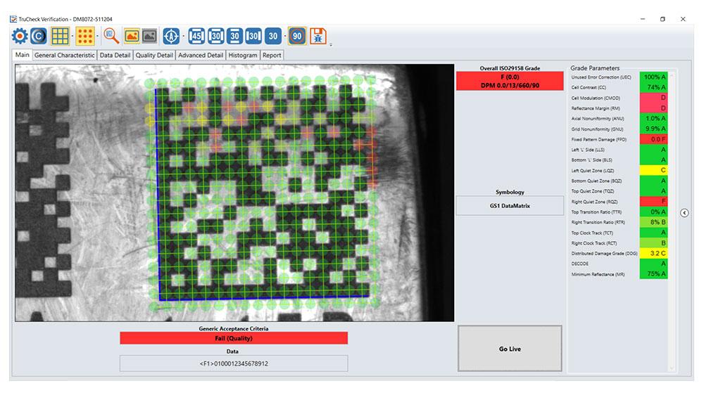 DM8072 Verifier Software DataMan Setup Tool showing grading of 2D barcode