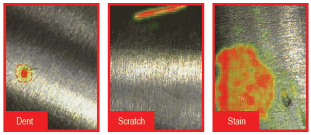 Images captured by ViDi Classify differentiating between dent, stain, and scratch defects