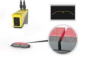 Brake pad inspection using Cognex laser displacement