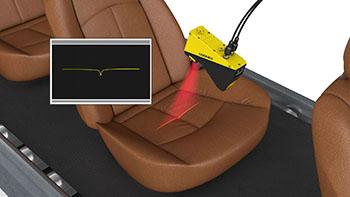 Car seat wrinkle detection using laser scanner