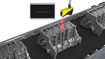 automotive engine block piston head height inspection on conveyor using laser line inspection