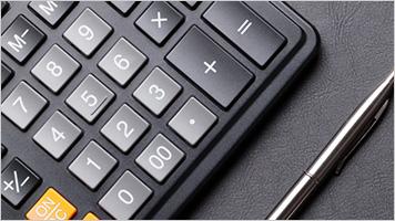 Calculator and pen up close