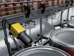 small cognex camera inspecting cans on conveyor