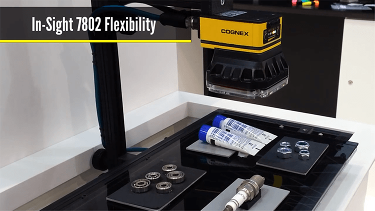 In-Sight 7000 scans different parts, like washers and tubes of liquid