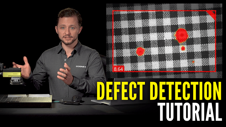 man with cognex camera demonstrates how to detect defects with deep learning